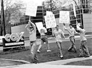 After six months of trying to get on Cox, Last - Call - resorted to highly effective picketing. (Pictured from - left: Mike Polk, Nate Heckman, James Renner, Aaron - McBride, and Chad Zumock.) - WALTER  NOVAK