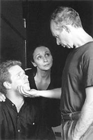 Allan Byrne (right), Laura Perrotta, and Scott Plate, in a tense scene from - The Laramie Project.