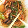 Baby octopus with bamboo and jalapeños with chili sauce#noodlecat#duritious#octopus#foodporn#clevelandfood