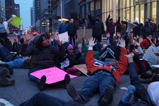 """Hands up! Don't Shoot!"" Outside Cuyahoga County HQ at E. 9th and Prospect. - SAM ALLARD / SCENE"