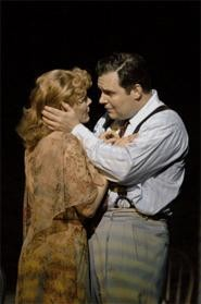 Blanche (Hollis Resnik) attracts a suitor (Lucas Caleb - Rooney) in the Play Houses A Streetcar Named - Desire.