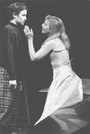 Boy trouble: Aria Alpert's Cesario (left) goes over well with Olivia (Kate Skinner).