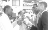 Chestnut's toasting: Jackson (left) raises a glass with - the boys.