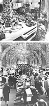 Children marveled at Higbee's elaborate Christmas      window displays (top), while holiday shoppers      thronged the main floor.