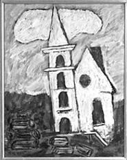 Church at Corea, 1941 by Marsden Hartley, part of - the art museums Modern American Masters exhibit.