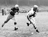 Cleveland Browns vs. Pittsburgh Steelers- 1952  <p>Final Score- Cleveland 29: Steelers 28  <p>Dante Lavelli (#56) of the Browns brings in a touchdown pass from Otto Graham, and outruns Pittsburgh Steelers defender Howard Hartley (#20). The Browns won the game 29-28.