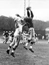 "Cleveland Browns vs. Pittsburgh Steelers- 1953  <p>Final Score- Cleveland 20: Steelers 16  <p>""Jack Butler grabs a pass in the third quarter for a 15-yard gain. Fighting for the ball is Tommy James of the Browns.  The Browns won the game 20-16."""