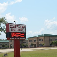 Cleveland, Texas Cleveland, Texas: Population 7,647 in 2012. Area code 281. There have been 23 natural disasters in Liberty County, which is almost double the US average of 12. (Note the mascot of Cleveland High School referenced in photo.) Photo Courtesy of clevelandillinois.com