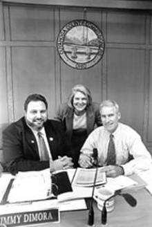 WALTER  NOVAK - County Commissioners Dimora (left), Campbell, and McCormack