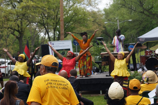 Dancers perform at Monday afternoon's groundbreaking ceremony. - SAM ALLARD / SCENE