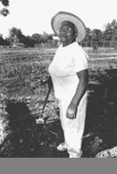 Dorothy Brentson has four really long rows to hoe.