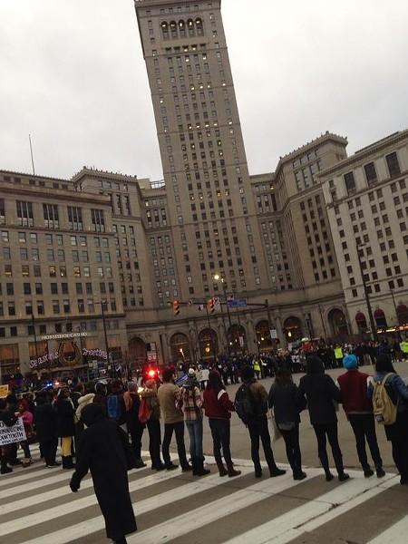 Downtown rally prior to the shutdown of State Route 2. - SAM ALLARD / SCENE