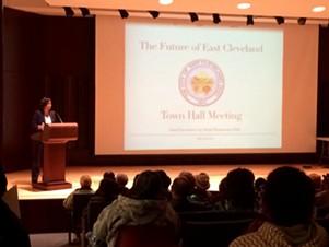 Pittman speaks at East Cleveland Public Library. - ERIC SANDY / SCENE