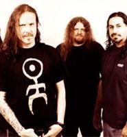 Fear Factory's Christian Olde Wolbers (left) is grateful to play guitar, not fryolator.