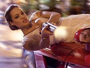 Fraternity boy's dream: Angelina Jolie blows 'em away.