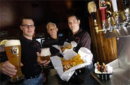From left, Brewmaster Garin Wright, Robert Wright, and Chef Brian Davis co-own Buckeye Beer Engine. - WALTER NOVAK