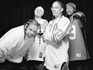 Get Bizzy! The non-incarcerated Bone Thugs (Bizzy, - second from left) in happier times.