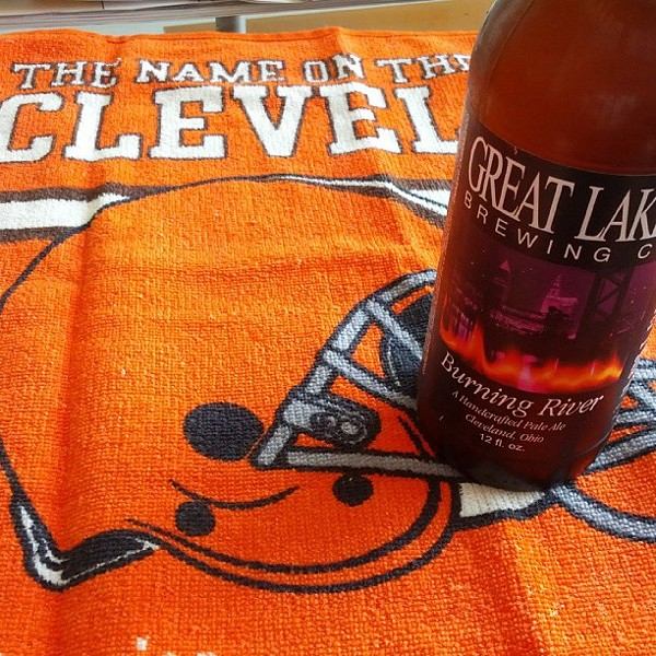 #GoBrowns ! #GreatLakesBrewing #BurningRiver #CleSportsProblems - PHOTO COURTESY OF INSTAGRAM USER RFRAMBACH