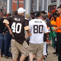 "The Recent History Of The Cleveland Browns Told In 15 Now-Obsolete Jerseys Has there been a more disappointing player than Peyton Hillis? The great white hype got the Madden '12 cover and promptly did nothing else in his career. Kellen Winslow (2004-2008), the motorcycle riding ""soldier"", left Cleveland after five injury-plagued seasons. Doug Brown/Cleveland Scene"