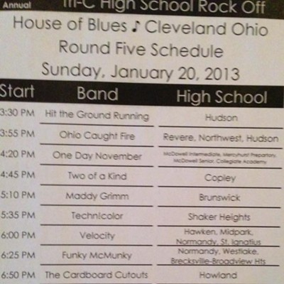 High School Rock Off Round 5