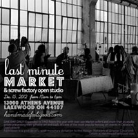 10 Things Going on in Cleveland this Weekend (December 20-22) If you've over indulged in holiday procrastination (we're guilty too), then head on over to the appropriately named Last Minute Market & Screw Factory Open Studio in Lakewood to wrap up all of your holiday shopping in one fell swoop. More than 100 jury-selected artists will be on hand selling handcraft goods ranging from jewelry and accessories to prints and fine art. It's all brought to you by Cleveland Handmade Market. In addition to the dozens of pop-up vendors, many permanent artists who work out of the Screw Factory will offer shoppers a peek into their workspaces and an opportunity to buy their work. It all takes places today from 10 a.m. to 6 p.m. (McConnell)The Screw Factory13000 Athens Ave., Lakewood WESTERN SUBURBSscrewfactoryartists.com Photo via Instagram