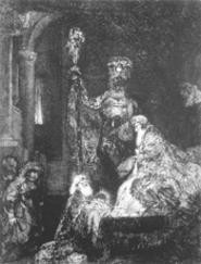 """In the Temple in the Dark Manner,"" print, Rembrandt."