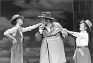 Jay O. Sanders's Falstaff vies for the wives (Sara Gettelfinger, left, and - Allison Briner).