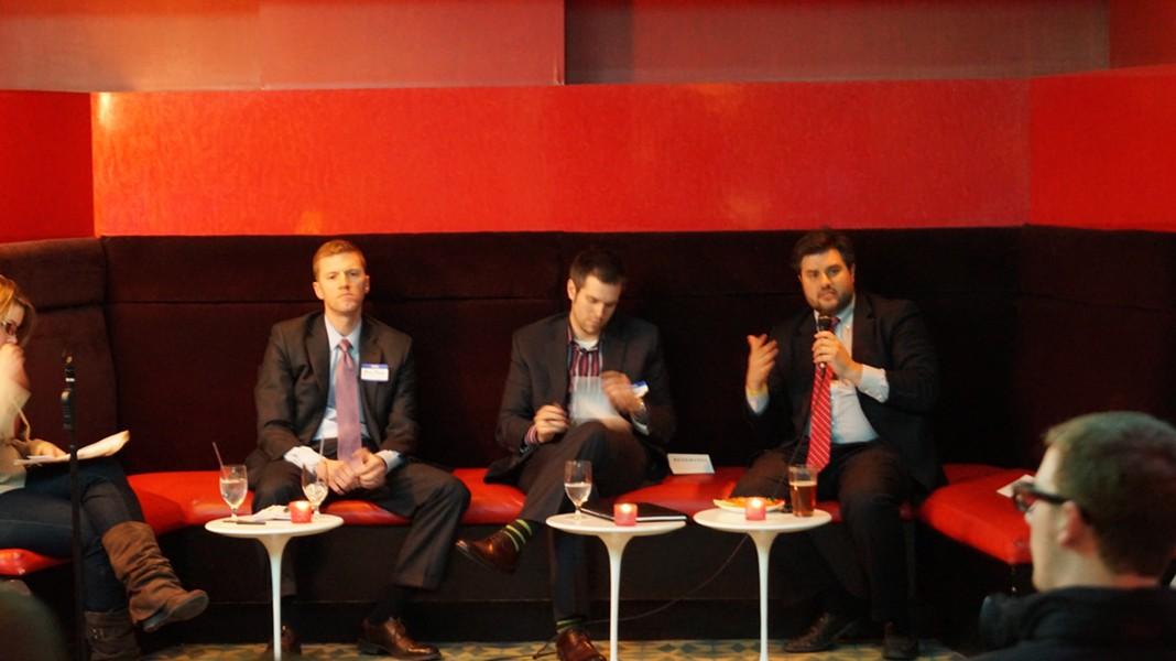 (L-R: Marty McGann, GCP; Michael Christoff, Vocon; Michael Deemer, Downtown Cleveland Alliance) - SAM ALLARD / SCENE
