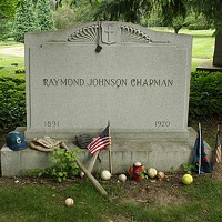 14 Historical Celebrities Buried in Cleveland Lakeview Cemetery: Cleveland Indians' shortstop; only player in Major League history to die from being hit by a pitch; gravestone adorned with baseball memorabilia.