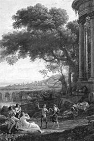 Landscape With Nymph and Satyr Dancing (detail), - by Claude Gelle, part of The Splendor of - Ruins at Oberlin.