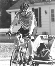 Larry Bell and his dog, Judge, Pedal to the Point this weekend.
