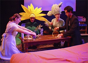 Lauren B. Smith (left) and Tom Kondilas (far right) play house with two imaginary friends.