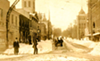 Looking west on Park Avenue West from Main Street following the November 1913 blizzard.