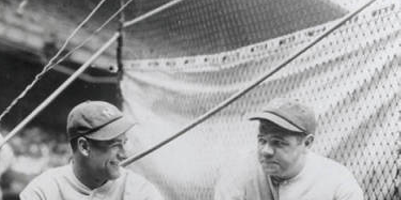 Lou Gehrig and Babe Ruth at League Park, 1927.