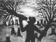"""""""Man Eating Trees,"""" by John Sokol, mixed media."""