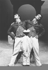 Mark Giordano (left) and Matte Osian as the intertwined Toccis.