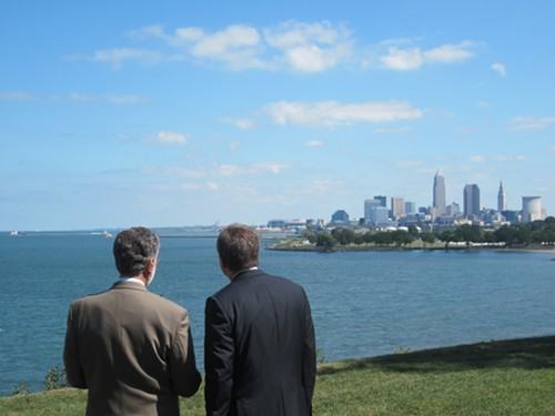 Mayor Frank Jackson and Gov. John Kasich eye the Cleveland skyline.