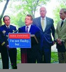 Mike DeWine: So bored with his own slogan, he can't be bothered to write the whole thing out.