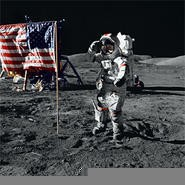 Neil Armstrong looks around to make sure he picked up all his beer bottles.