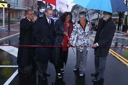 Mayor Jackson holds the ribbon steady for City Councilwoman Mamie Mitchell - RUGGERO FATICA, CITY OF CLEVELAND