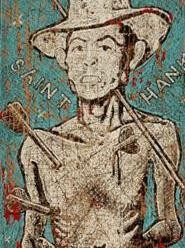 On view at Arts Collinwood Gallery: This portrait of Hank - Williams and other works by Jon Langford.