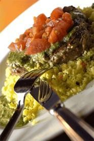 Parsley pesto is a hugely flavorful addition to Taza's juicy ahi tuna. - WALTER  NOVAK