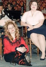 Patsy Cline (Debra Wagoner, right) shares an evening with her besotted fan (Sarah Lyon).