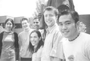 Phoenix Ho (far right) and other Medical Students - for Choice members with a statue of Hippocrates. - JACQUELINE  MARINO