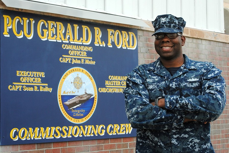 Petty Officer Second Class Dameon Smith is a legalman aboard Pre-Commissioning Unit Gerald R. Ford. - NAVY OFFICE OF COMMUNITY OUTREACH