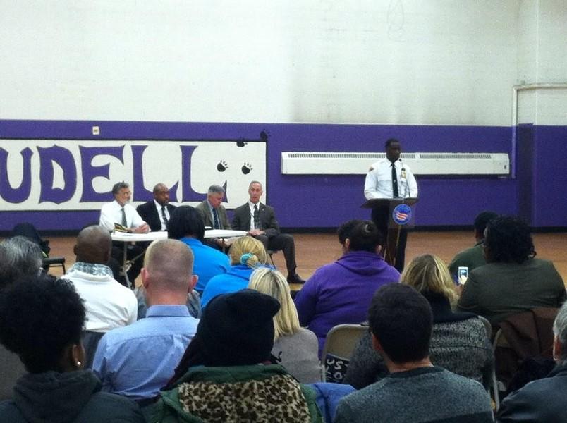 Police Chief Calvin Williams speaks to the public at Cudell Rec Center. - ERIC SANDY / SCENE