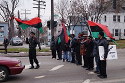 Protesters form a line on Euclid Ave. last month to protest Mayor Norton's inaction. - SAM ALLARD / SCENE