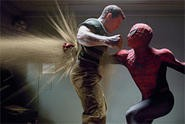 Sandman learns the hard way that Spidey packs a mean hook.