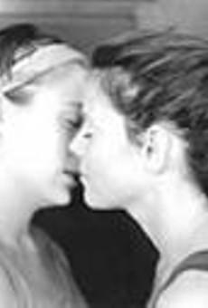 Sara (Lyndsey Lantz) and Callie (Meg Kelly) in Stop Kiss: The      romance was inevitable.