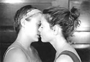Sara (Lyndsey Lantz) and Callie (Meg Kelly) in Stop Kiss: The - romance was inevitable.